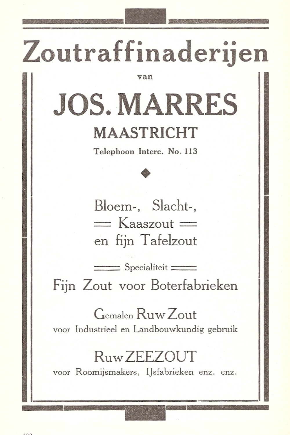 Zoutraffinaderijen Jos. Marres - advertentie